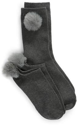 Lemon 2-Pack Nobel Faux Fur Pompom Socks