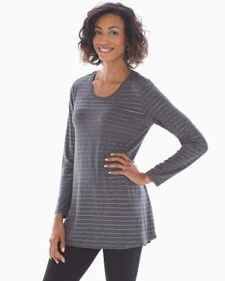 7bafc694d8c14 Soft Jersey Long Sleeve Yoke Tunic Heather Quartz Foil Stripe