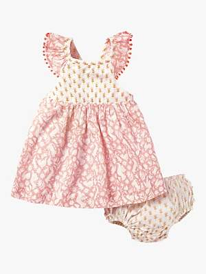 Boden Mini Baby Smocked Hotchpotch Dress and Knickers Set, Shell Pink Friends