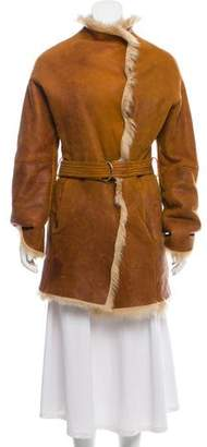 Joseph Belted Shearling Coat