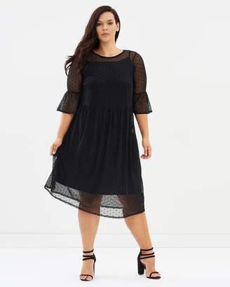 Evans Stretch Crepe Spot Mesh Dress