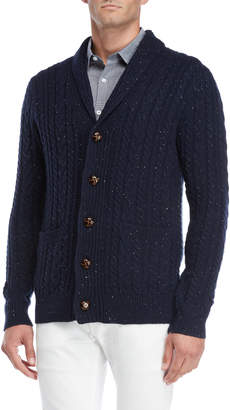 Barque Navy Speckled Shawl Collar Cardigan