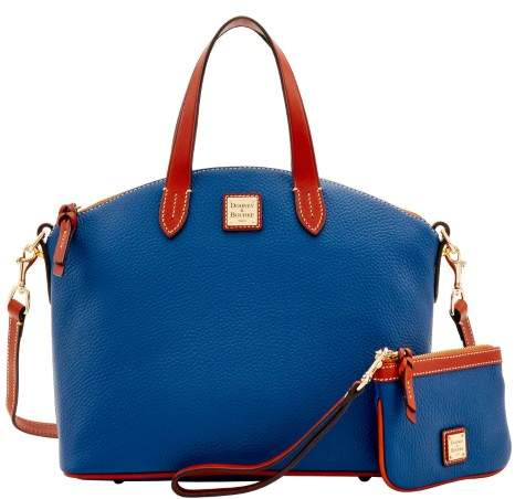 Dooney & Bourke Pebble Grain Satchel & Medium Wristlet - OCEAN - STYLE