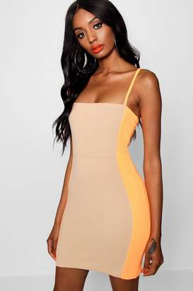 boohoo Neon Contrast Panelling Bodycon Dress
