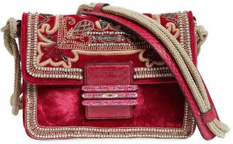 Etro Embroidered Velvet Shoulder Bag