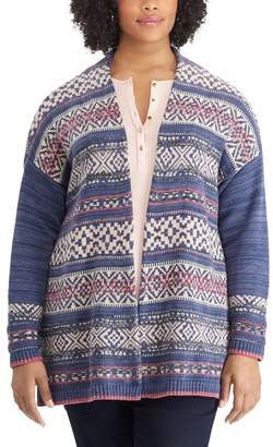 Chaps Plus Size Fairisle Open-Front Cardigan
