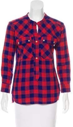 Etoile Isabel Marant Silk Checkered Long Sleeve Top