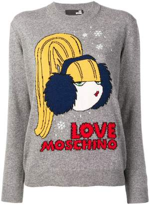 Love Moschino logo intarsia sweater