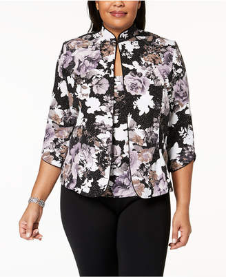 Alex Evenings Plus Size Metallic Floral-Print Jacket & Shell