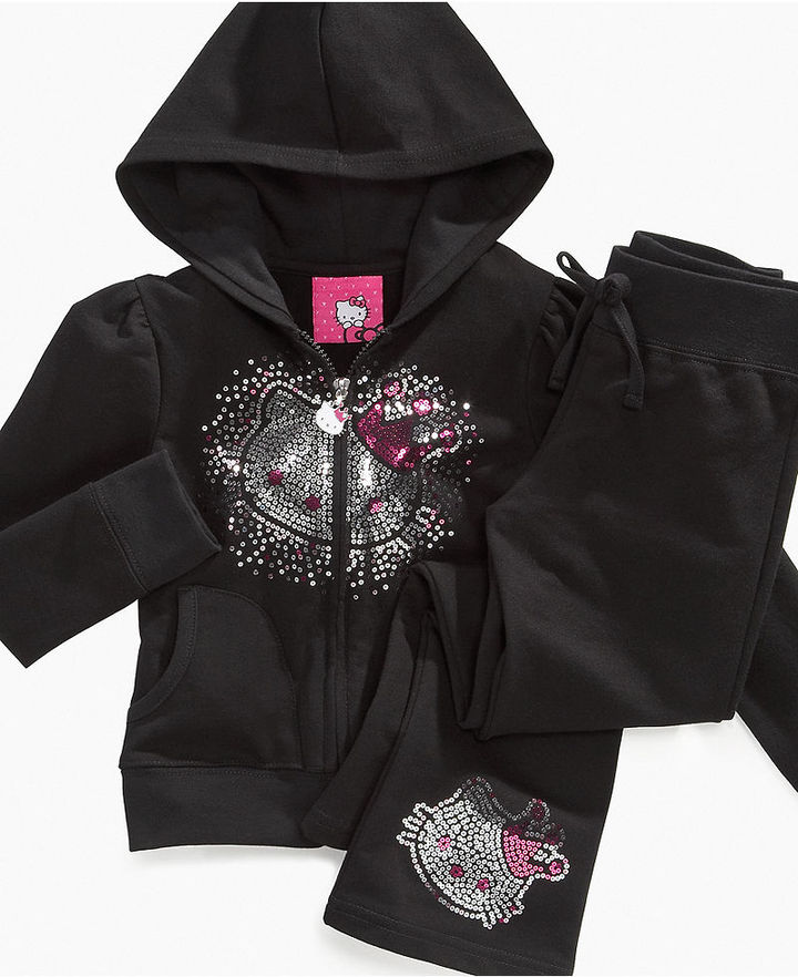 Hello Kitty Kids Hoodie, Little Girls Crown Kitty Sequin-Front Hoodie