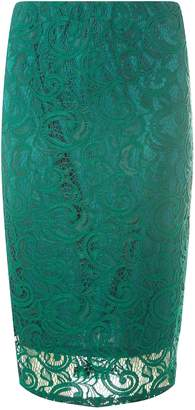 Dorothy Perkins Womens Green Lace Pencil Skirt