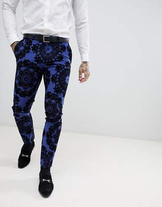 Twisted Tailor super skinny tuxedo suit pants in flocking