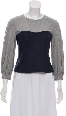 Tibi Bustier-Accented Long Sleeve Top