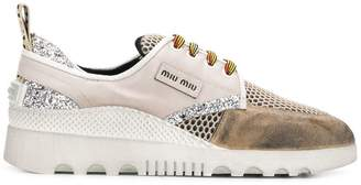 Miu Miu perforated glitter sneakers
