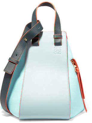 Loewe +paula's Ibiza Hammock Color-block Textured-leather Shoulder Bag - Turquoise