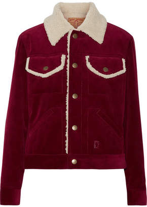 Marc Jacobs - Faux Shearling-lined Corduroy Jacket - Burgundy $595 thestylecure.com