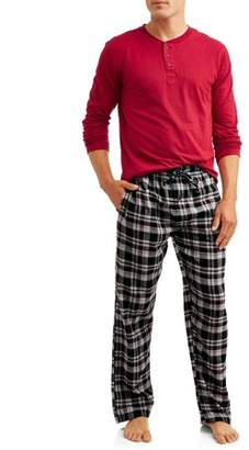 Hanes Men's L/S Henley Top with Flannel Pant Sleep Set