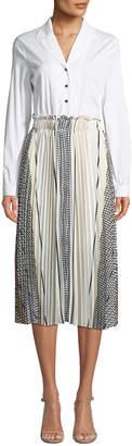 Donna Karan Button-Shirt Top Pleated A-Line Dress