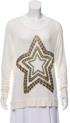 Lauren Moshi Star-Accented Long Sleeve Sweater