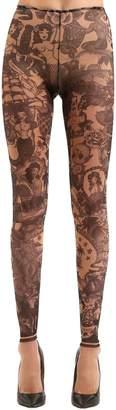 DSQUARED2 Tattoo Printed Tulle Leggings