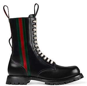 Gucci Men's Leather Boot with Web