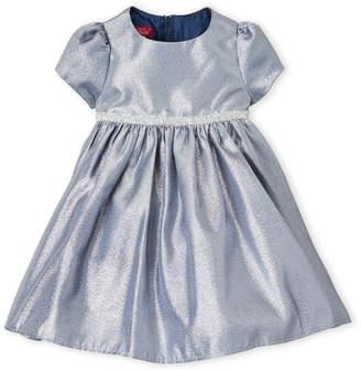 Princess Faith (Toddler Girls) Two-Piece Metallic Navy Dress & Bloomers Set