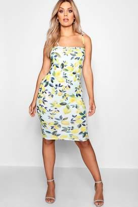 4ade1829a58c0 at boohoo · boohoo Plus Janine Lemon Print Square Neck Midi Dress