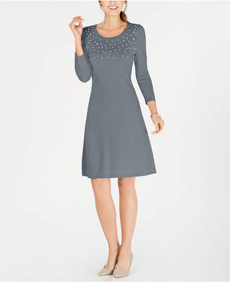 Nine West Faux Pearl-Embellished Sweater Dress