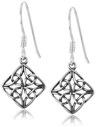 Celtic Sterling Silver Oxidized Knot Diamond Shaped Drop Earrings
