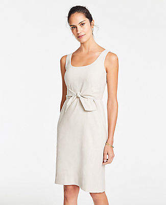 Ann Taylor Linen Blend Tie Front Sheath Dress