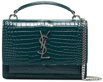 Saint Laurent Green logo detail croc embossed bag