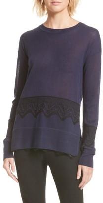 Women's Derek Lam 10 Crosby Lace Hem Silk & Cashmere Pullover $395 thestylecure.com