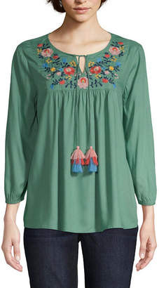 ST. JOHN'S BAY Womens Round Neck 3/4 Sleeve Embroidered Peasant Top