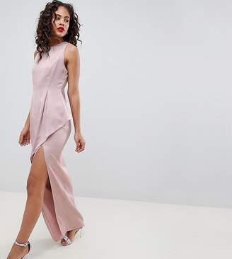 Asos Tall DESIGN Tall satin maxi dress with asymmetric layered skirt