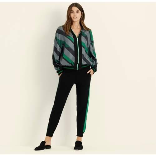 Emerald Stripe Bomber Jacket