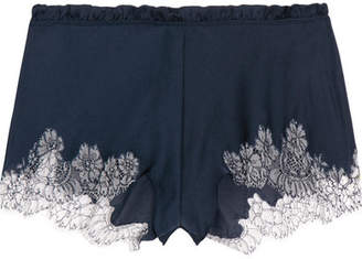 Chantilly Lace-trimmed Silk-blend Satin Shorts - Navy