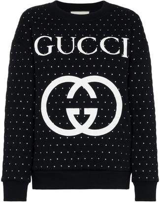 Gucci Embellished quilted cotton logo sweatshirt