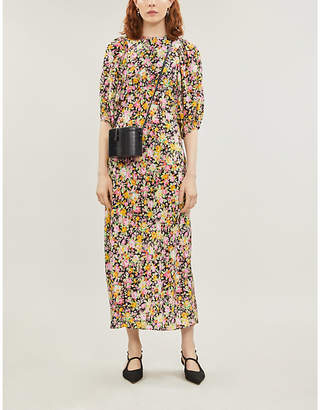 Les Rêveries Puff-sleeve floral-print silk midi dress