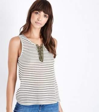 New Look Khaki Stripe Lace-Up Fine Knit Vest