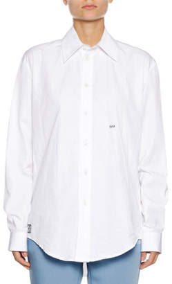 Off-White Button-Down Long-Sleeve Cotton Poplin Shirt