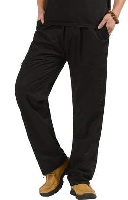 CardanWolf Men's Casual Cargo Pants Relaxed Fit Full Elastic Waist Multi pockets Work Pants 3XL