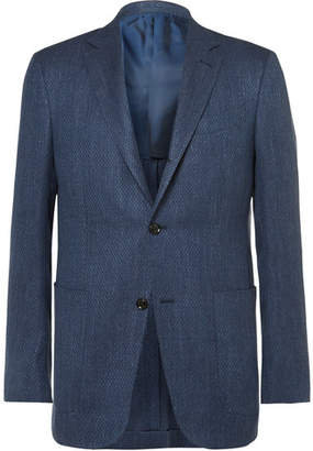 Ermenegildo Zegna Blue Slim-Fit Slub Cashmere, Silk and Hemp-Blend Jacquard Blazer