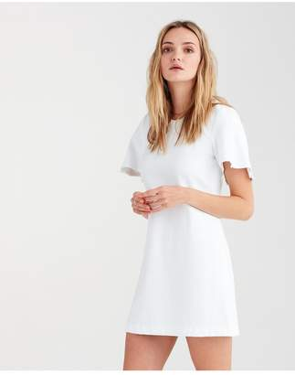 7 For All Mankind Popover Dress With Kick Sleeves In White Fashion