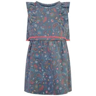 Ikks IKKSGirls Blue Chambray Patterned Dress