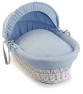 Clair De Lune Waffle White Wicker Moses Basket - White