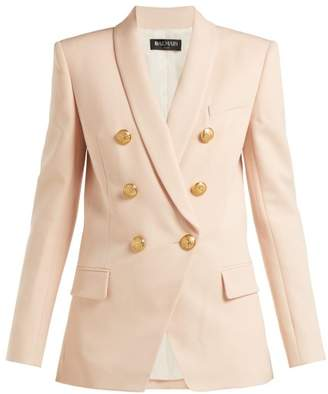 Balmain Long Double Breasted Wool Blazer - Womens - Light Pink