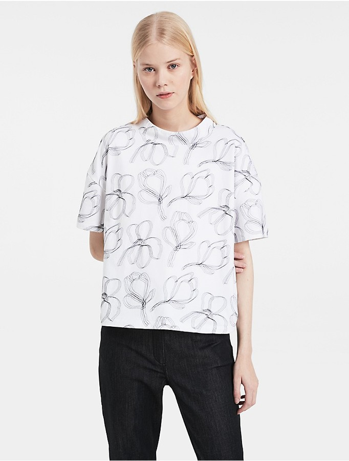 Calvin Klein Platinum Floral Embroidered Cropped Top