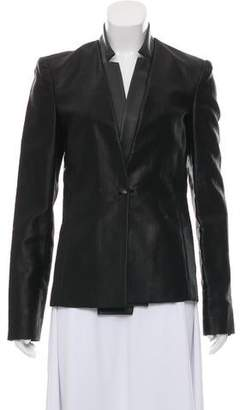 J Brand Leather-Trimmed Structured Blazer