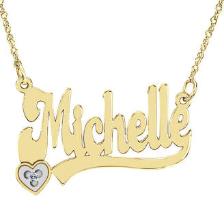 FINE JEWELRY Personalized Diamond-Accent 14K Gold Over Sterling Silver Name Necklace