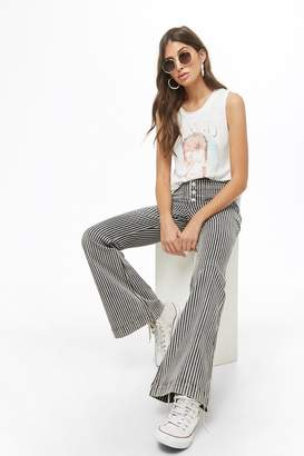 Forever 21 Striped Button-Fly Flare Jeans